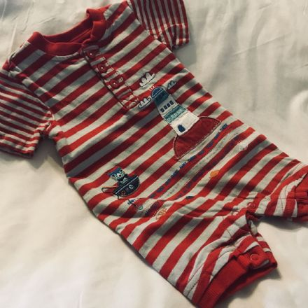 0-3 Month Red and Grey Playsuit